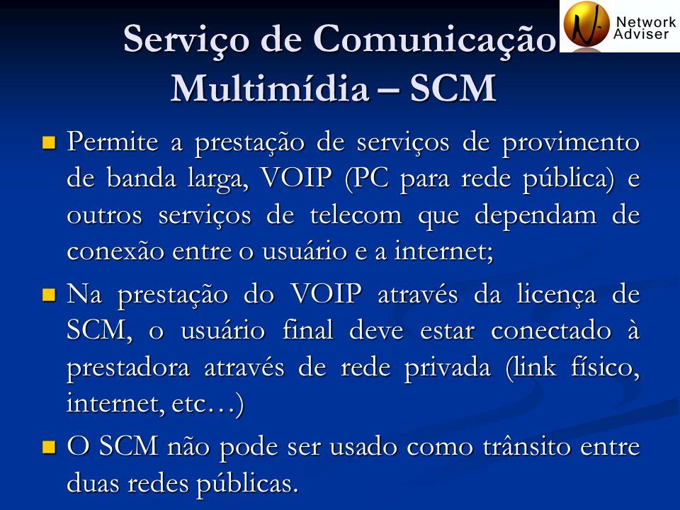 Serviço de Comunicação Multimídia – SCM Permite a prestação de serviços de provimento de banda larga, VOIP (PC para rede pública) e outros serviços de