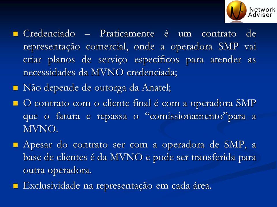 Credenciado – Praticamente é um contrato de representação comercial, onde a operadora SMP vai criar planos de serviço específicos para atender as nece