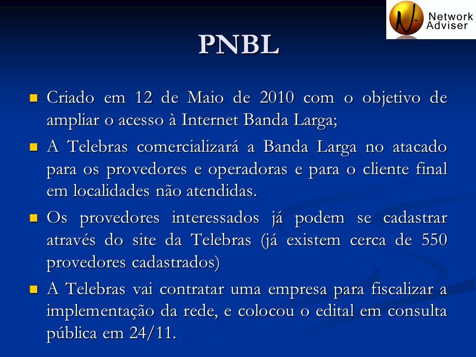 PNBL Criado em 12 de Maio de 2010 com o objetivo de ampliar o acesso à Internet Banda Larga; Criado em 12 de Maio de 2010 com o objetivo de ampliar o