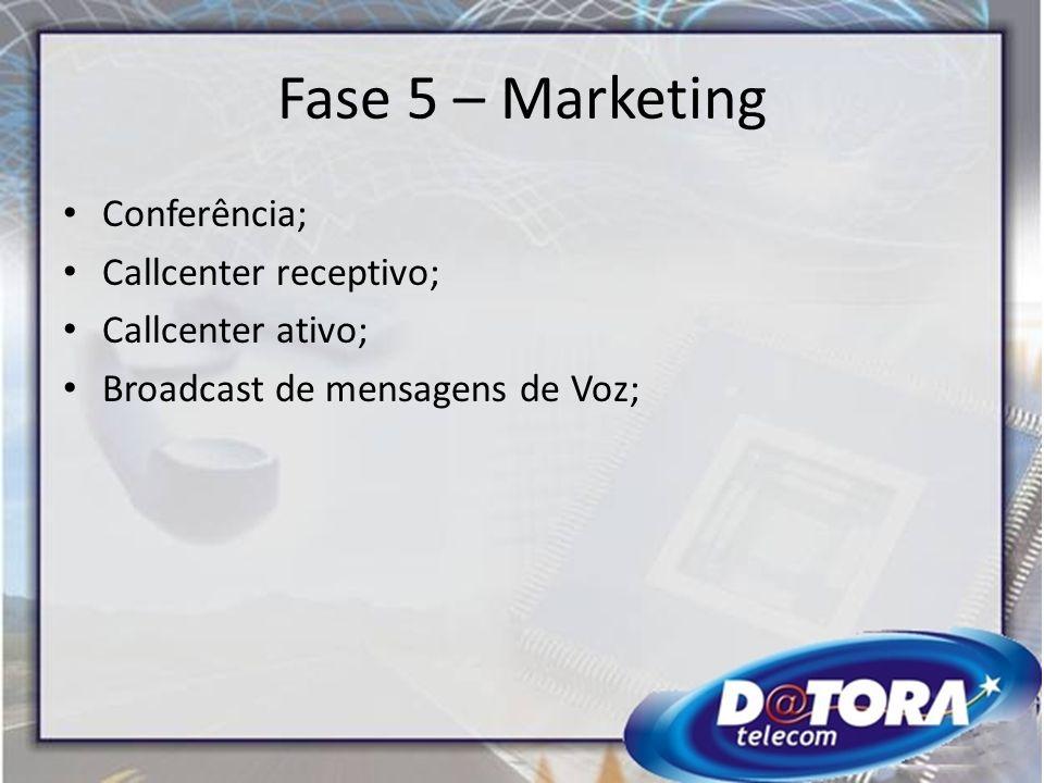 Fase 5 – Marketing Conferência; Callcenter receptivo; Callcenter ativo; Broadcast de mensagens de Voz;