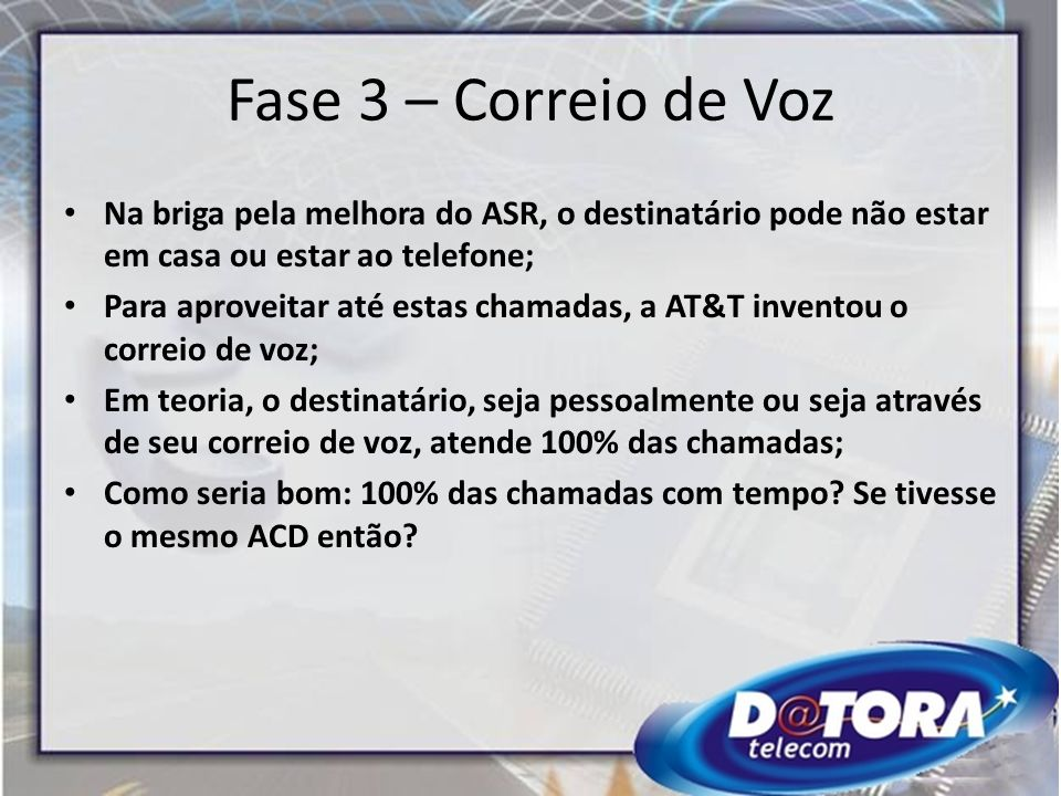 Fase 3 – Correio de Voz Na briga pela melhora do ASR, o destinatário pode não estar em casa ou estar ao telefone; Para aproveitar até estas chamadas,