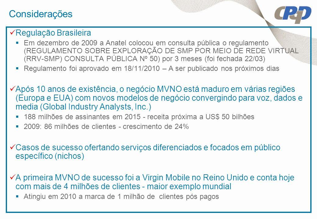 Considerações Regulação Brasileira Em dezembro de 2009 a Anatel colocou em consulta pública o regulamento (REGULAMENTO SOBRE EXPLORAÇÃO DE SMP POR MEI