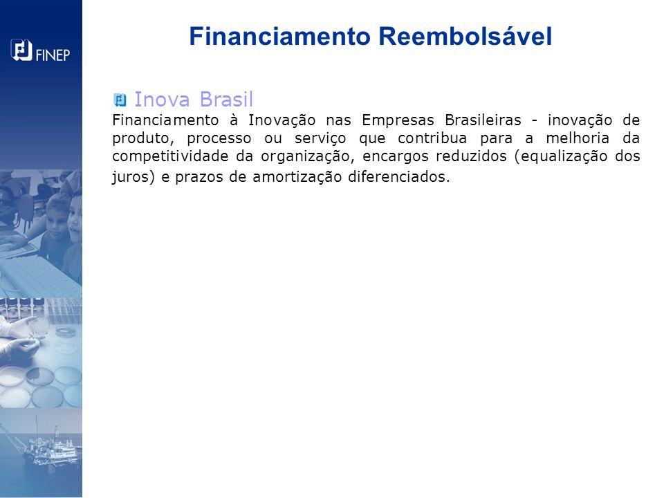 Financiamento Reembolsável Inova Brasil Financiamento à Inovação nas Empresas Brasileiras - inovação de produto, processo ou serviço que contribua par