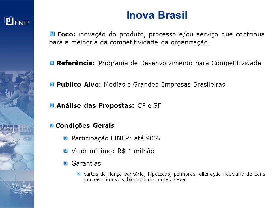 Inova Brasil Foco: inovação do produto, processo e/ou serviço que contribua para a melhoria da competitividade da organização. Referência: Programa de