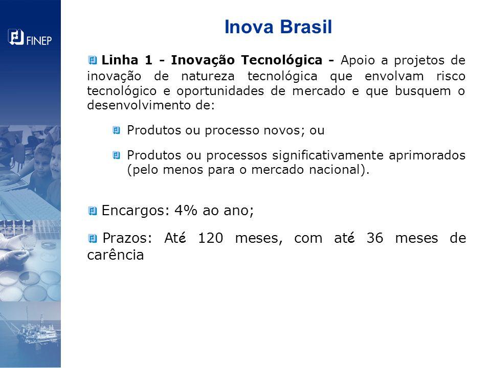 Inova Brasil Linha 1 - Inovação Tecnológica - Apoio a projetos de inovação de natureza tecnológica que envolvam risco tecnológico e oportunidades de m
