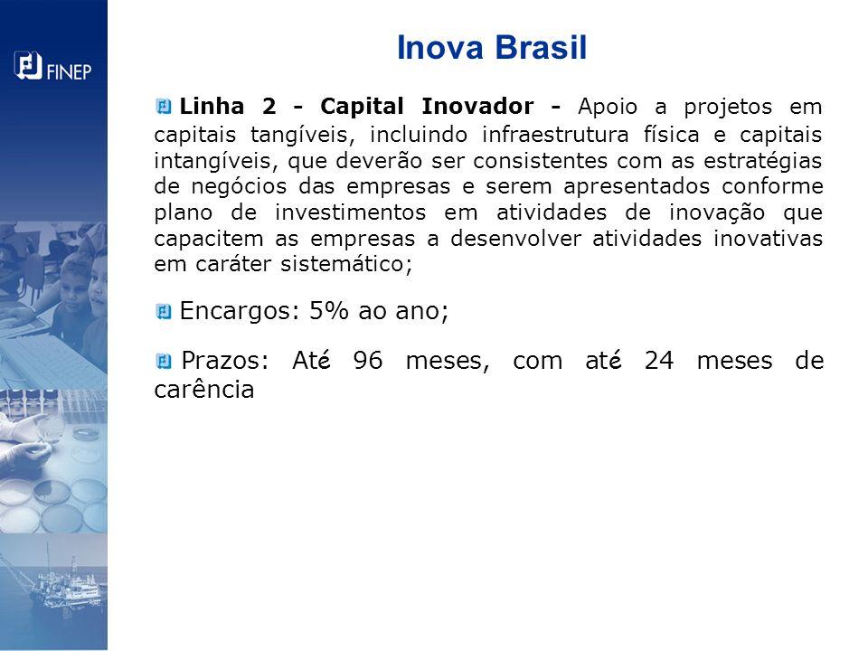 Inova Brasil Linha 2 - Capital Inovador - Apoio a projetos em capitais tangíveis, incluindo infraestrutura física e capitais intangíveis, que deverão