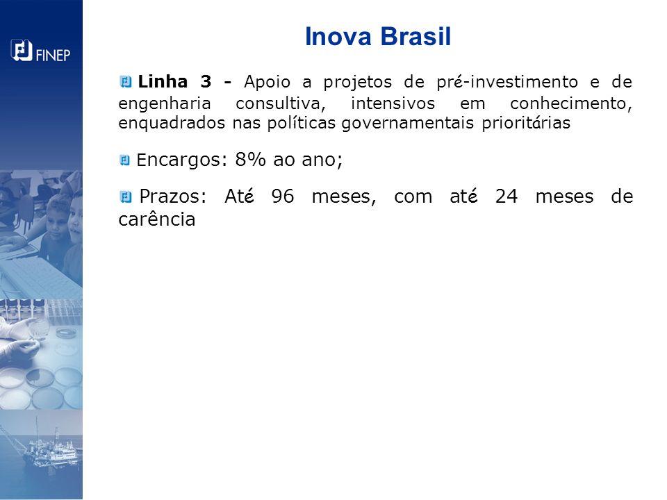 Inova Brasil Linha 3 - Apoio a projetos de pr é -investimento e de engenharia consultiva, intensivos em conhecimento, enquadrados nas pol í ticas gove