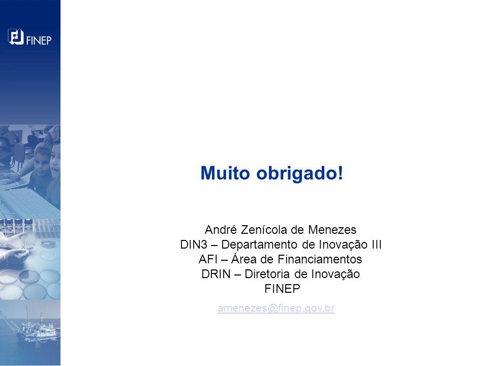 Muito obrigado! André Zenícola de Menezes DIN3 – Departamento de Inovação III AFI – Área de Financiamentos DRIN – Diretoria de Inovação FINEP amenezes