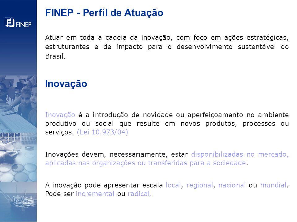 FINEP - Perfil de Atuação Atuar em toda a cadeia da inovação, com foco em ações estratégicas, estruturantes e de impacto para o desenvolvimento susten