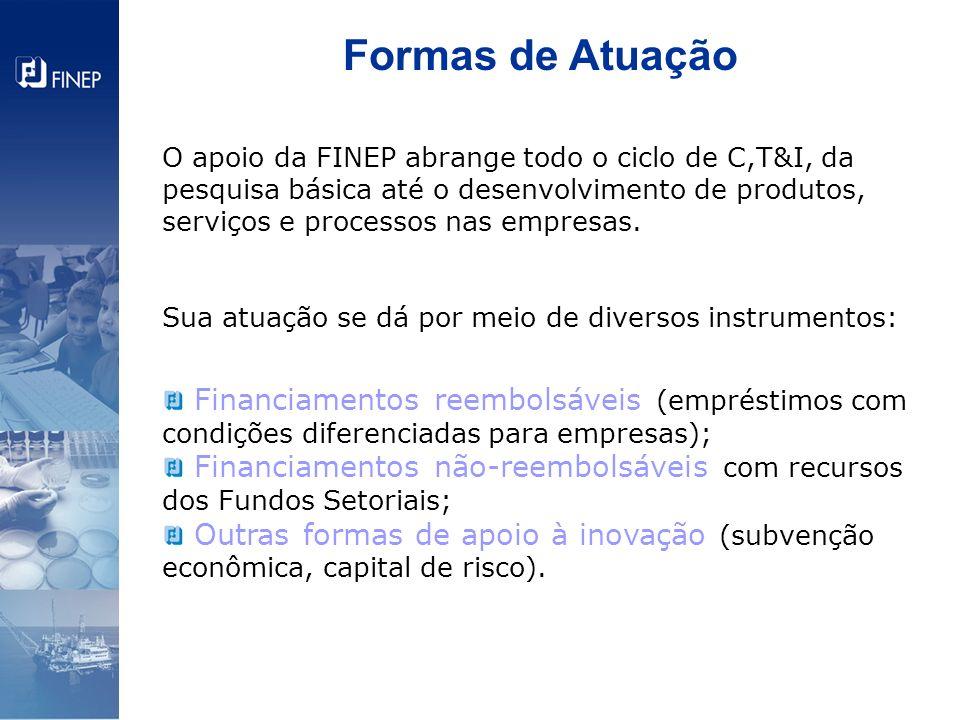 O apoio da FINEP abrange todo o ciclo de C,T&I, da pesquisa básica até o desenvolvimento de produtos, serviços e processos nas empresas. Sua atuação s