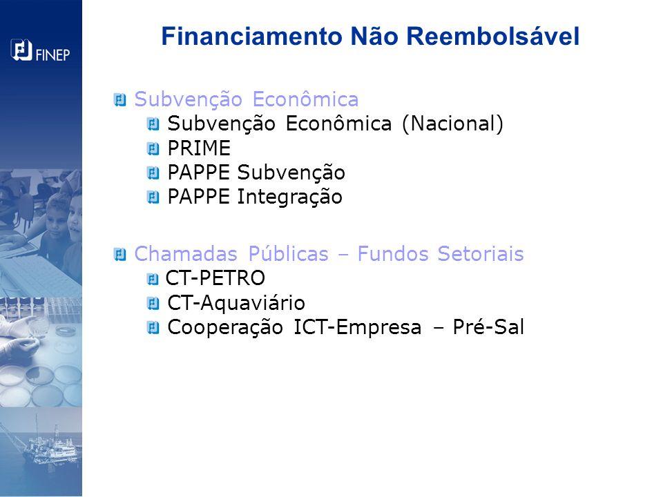 Financiamento Não Reembolsável Subvenção Econômica Subvenção Econômica (Nacional) PRIME PAPPE Subvenção PAPPE Integração Chamadas Públicas – Fundos Se