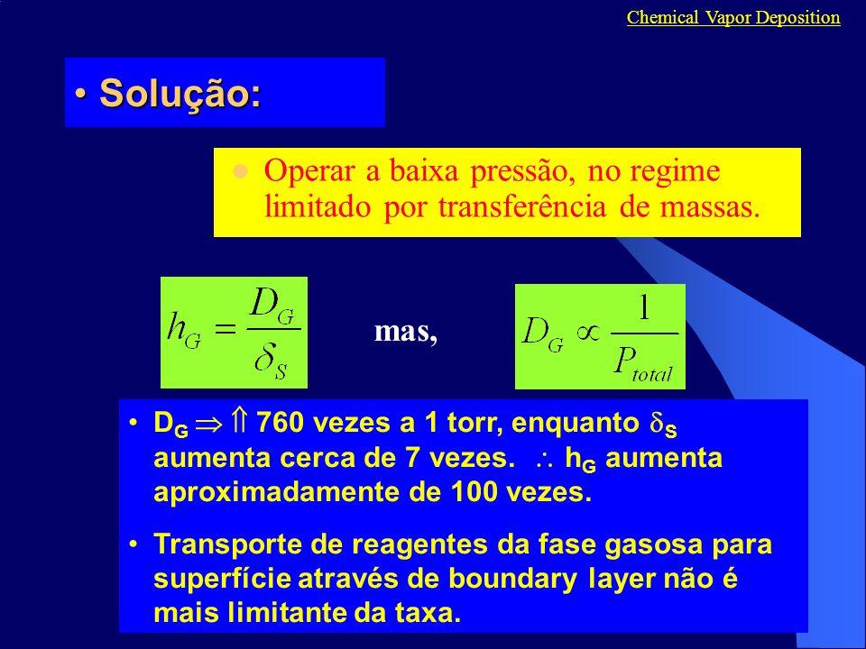Solução:Solução: Operar a baixa pressão, no regime limitado por transferência de massas. Chemical Vapor Deposition mas, D G 760 vezes a 1 torr, enquan