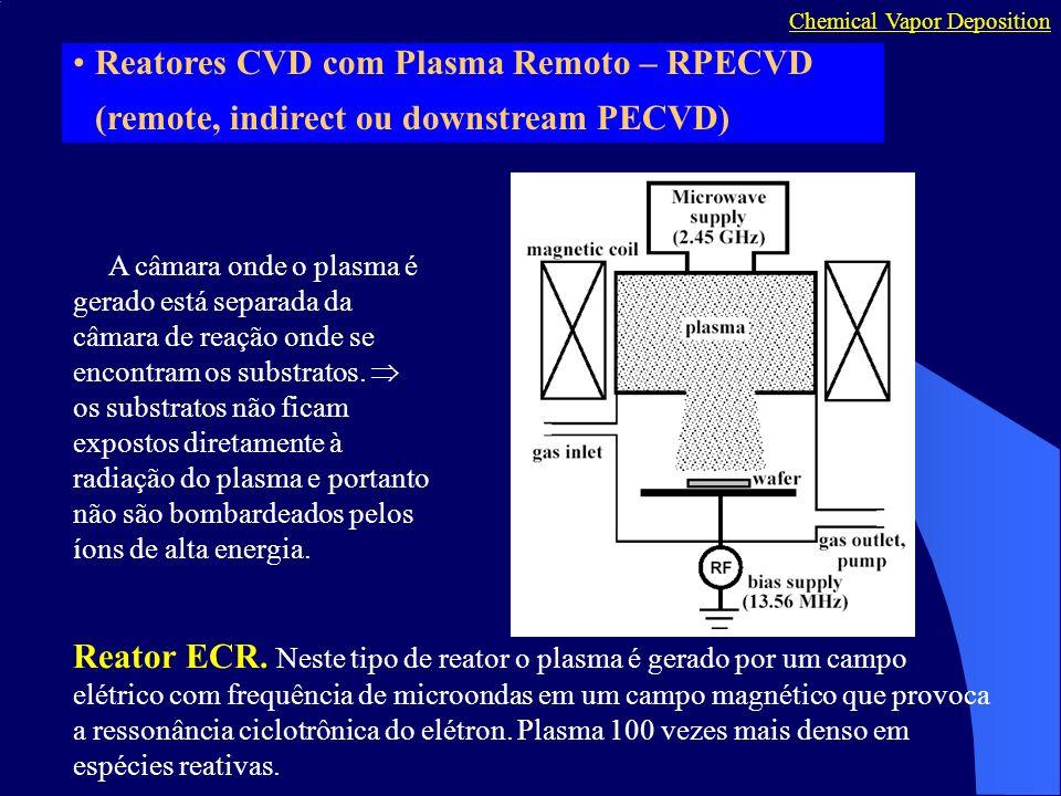 Reatores CVD com Plasma Remoto – RPECVD (remote, indirect ou downstream PECVD) A câmara onde o plasma é gerado está separada da câmara de reação onde