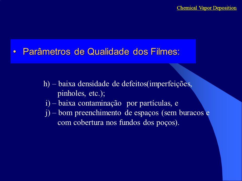 h) – baixa densidade de defeitos(imperfeições, pinholes, etc.); i) – baixa contaminação por partículas, e j) – bom preenchimento de espaços (sem burac
