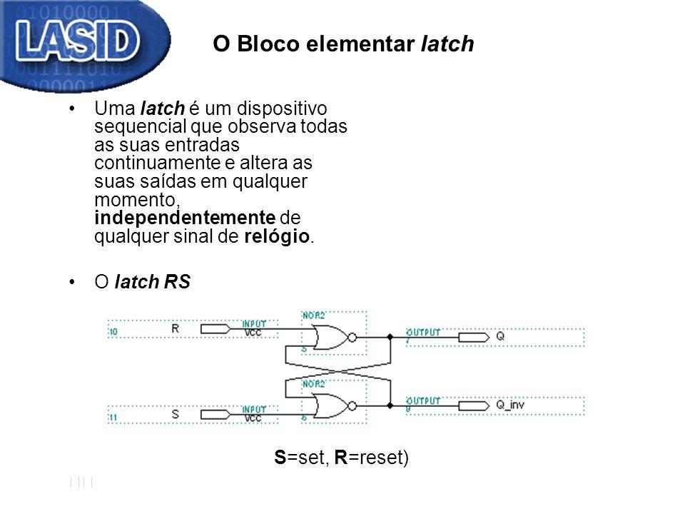 O Bloco elementar latch Uma latch é um dispositivo sequencial que observa todas as suas entradas continuamente e altera as suas saídas em qualquer mom