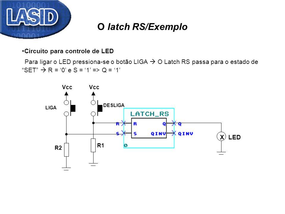 O latch RS/Exemplo X Vcc R1 R2 Vcc DESLIGA LIGA LED Circuito para controle de LED Para ligar o LED pressiona-se o botão LIGA O Latch RS passa para o e