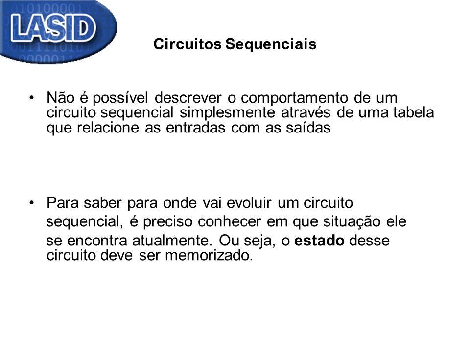 Circuitos Sequenciais Não é possível descrever o comportamento de um circuito sequencial simplesmente através de uma tabela que relacione as entradas