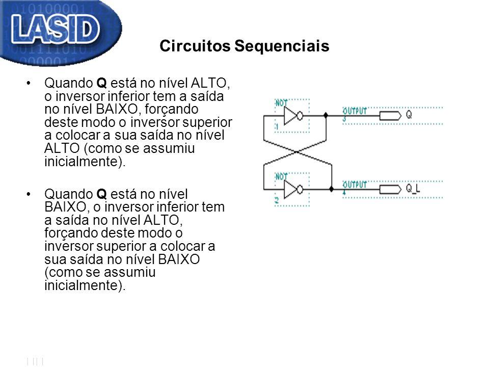 Circuitos Sequenciais Quando Q está no nível ALTO, o inversor inferior tem a saída no nível BAIXO, forçando deste modo o inversor superior a colocar a