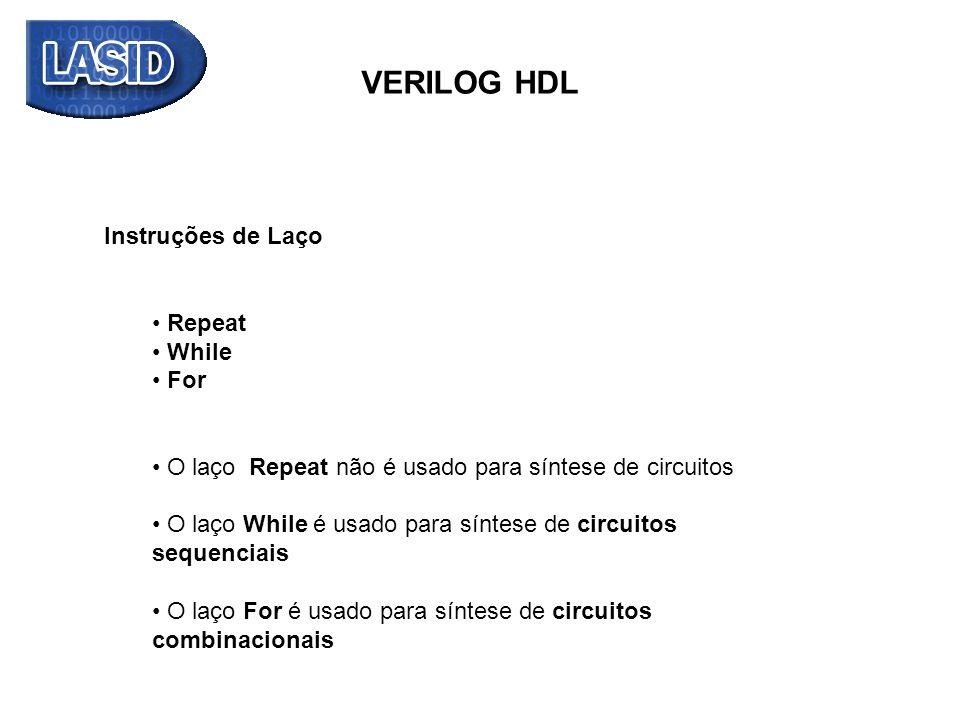 VERILOG HDL Simulação: 12.8 ns (tap) tap -> tempo de atraso de propagação