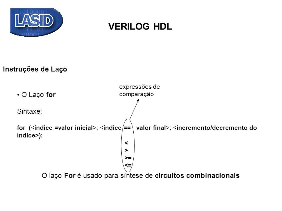 VERILOG HDL Exemplo da construção FOR LOOP: Descrever em VERILOG um circuito para determinar a ordem do bit 1 de mais alta significância em um vetor de entrada de 8 bits.