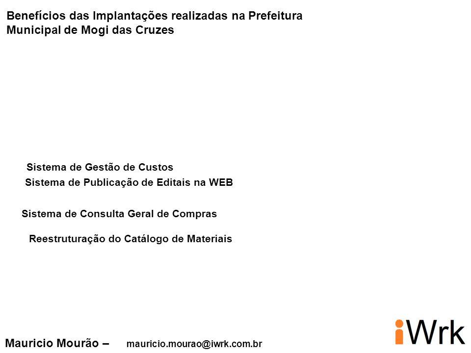 Mauricio Mourão – mauricio.mourao@iwrk.com.br Sistema de Gestão de Custos Benefícios das Implantações realizadas na Prefeitura Municipal de Mogi das C