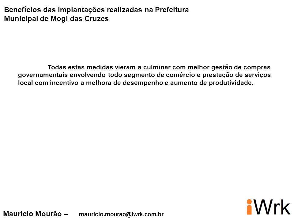 Mauricio Mourão – mauricio.mourao@iwrk.com.br Todas estas medidas vieram a culminar com melhor gestão de compras governamentais envolvendo todo segmen