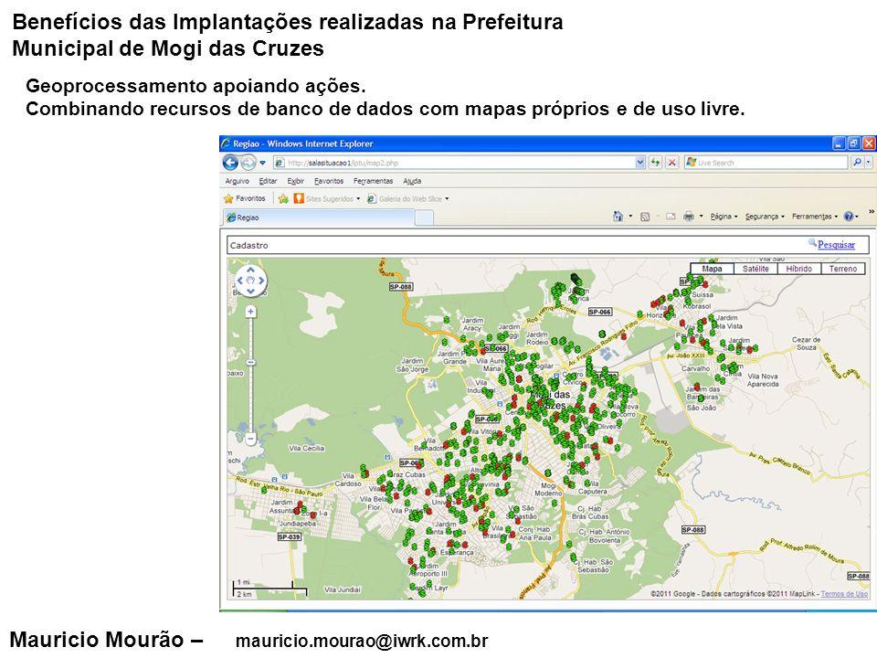 Mauricio Mourão – mauricio.mourao@iwrk.com.br Geoprocessamento apoiando ações. Combinando recursos de banco de dados com mapas próprios e de uso livre
