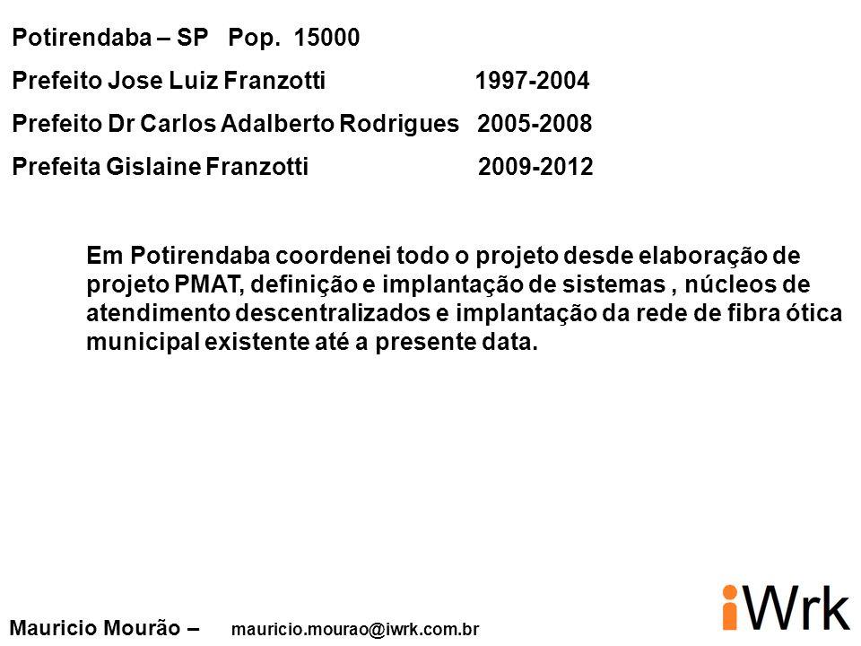 Potirendaba – SP Pop. 15000 Prefeito Jose Luiz Franzotti 1997-2004 Prefeito Dr Carlos Adalberto Rodrigues 2005-2008 Prefeita Gislaine Franzotti 2009-2