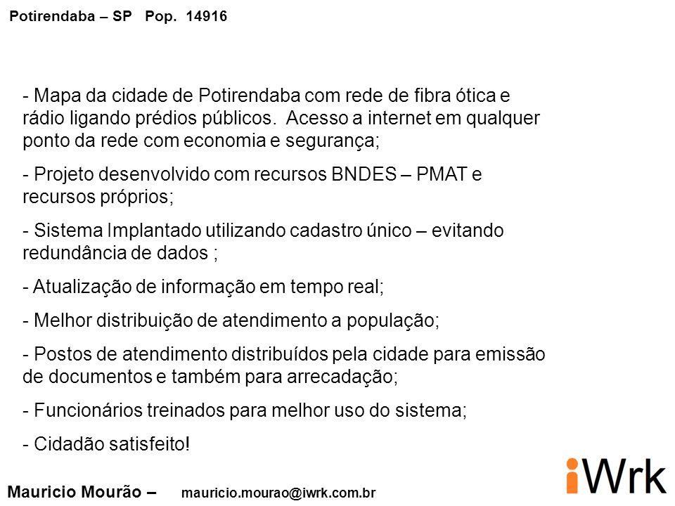 - Mapa da cidade de Potirendaba com rede de fibra ótica e rádio ligando prédios públicos. Acesso a internet em qualquer ponto da rede com economia e s