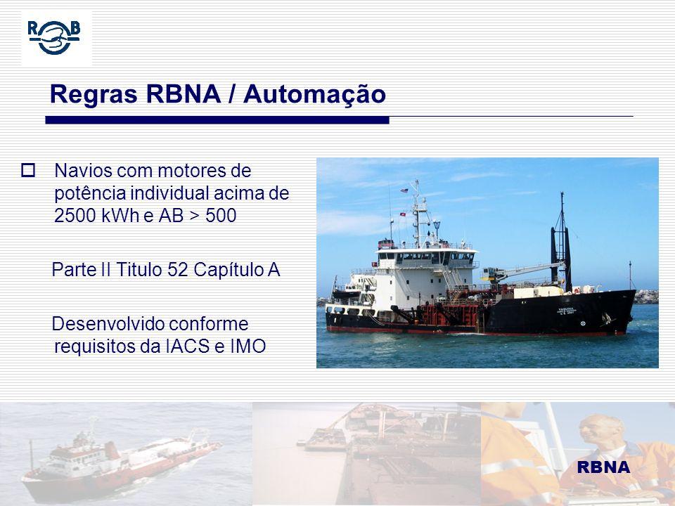 RBNA LDM 16.02.06 Regras RBNA / Automação Navios com motores de potência individual acima de 2500 kWh e AB > 500 Parte II Titulo 52 Capítulo A Desenvo