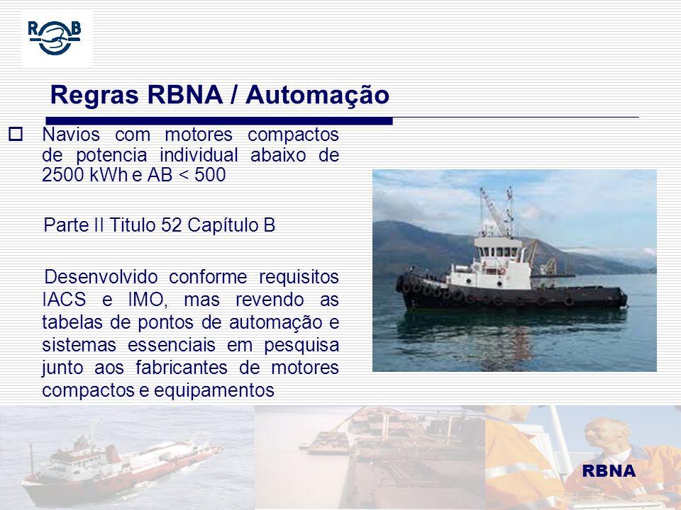 LDM 16.02.06 Regras RBNA / Automação Navios com motores compactos de potencia individual abaixo de 2500 kWh e AB < 500 Parte II Titulo 52 Capítulo B D
