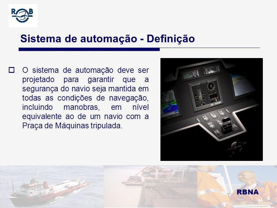 LDM 16.02.06 Sistema de automação Automação como notação adicional de Classe RBNA Conforme NORMAM 01 Para embarcações classificadas (em classe), deverão ser levadas em conta as Notações de Grau de Automação para a Praça de Máquinas (NGAPM), emitidas pelas Sociedades Classificadoras reconhecidas