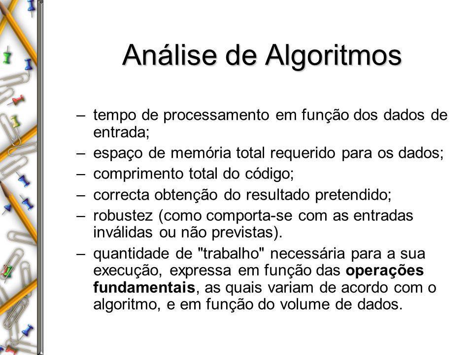 Análise de Algoritmos –tempo de processamento em função dos dados de entrada; –espaço de memória total requerido para os dados; –comprimento total do