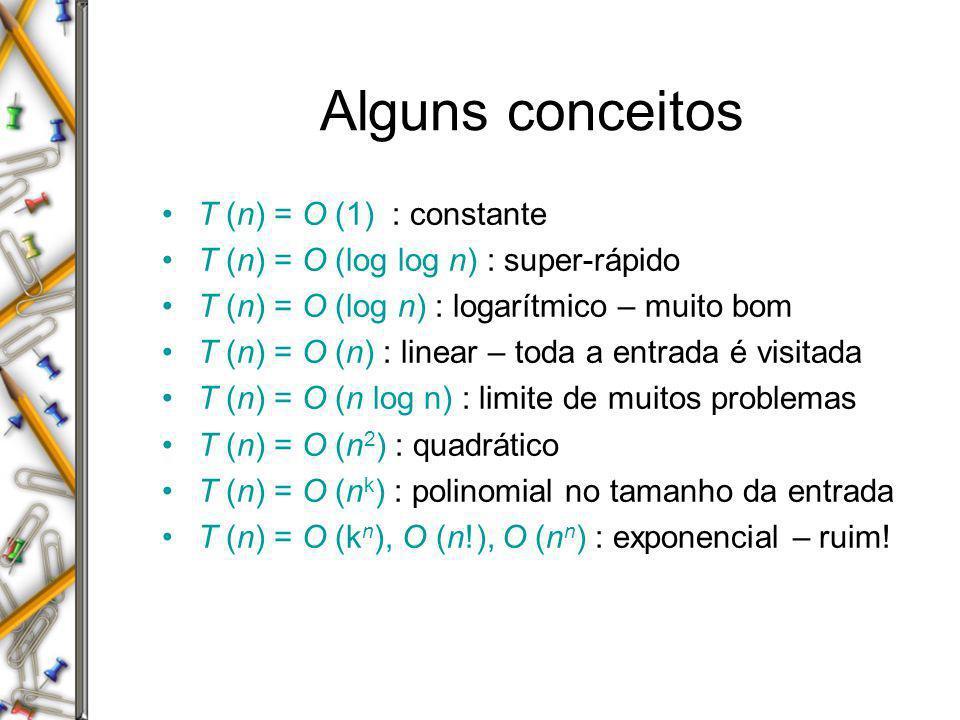 Alguns conceitos T (n) = O (1) : constante T (n) = O (log log n) : super-rápido T (n) = O (log n) : logarítmico – muito bom T (n) = O (n) : linear – t