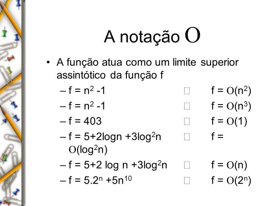 A notação A função atua como um limite superior assintótico da função f –f = n 2 -1 f = (n 2 ) –f = n 2 -1 f = (n 3 ) –f = 403 f = (1) –f = 5+2logn +3