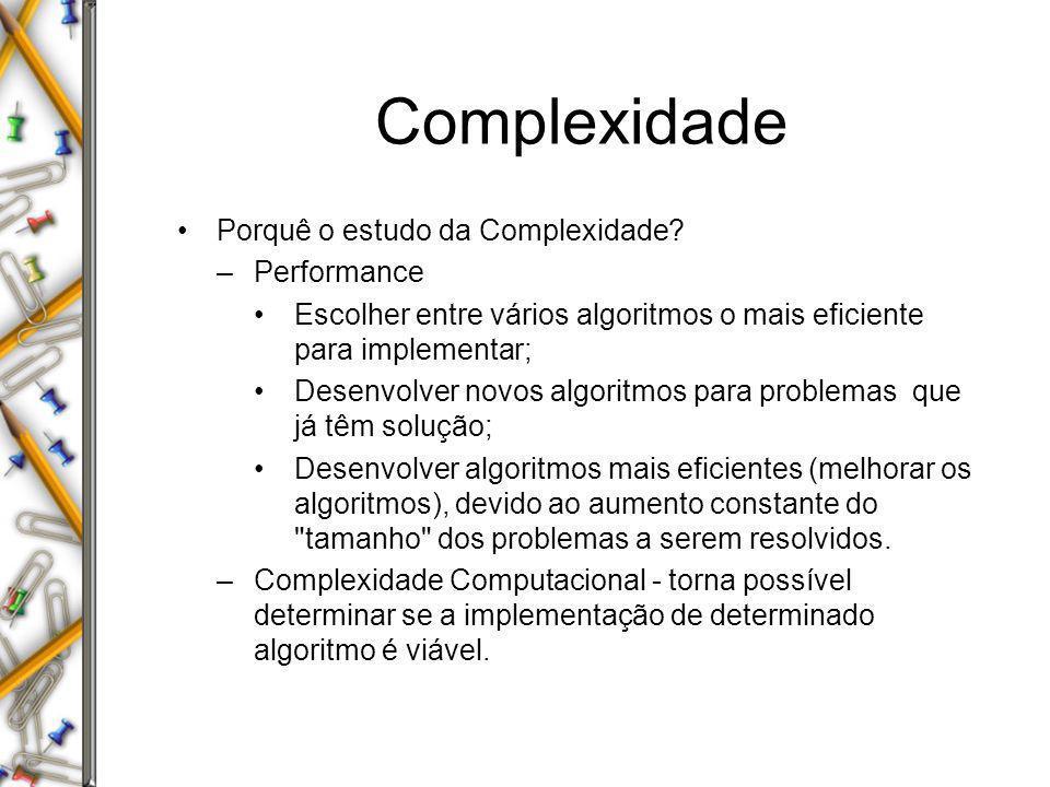 Complexidade Porquê o estudo da Complexidade? –Performance Escolher entre vários algoritmos o mais eficiente para implementar; Desenvolver novos algor