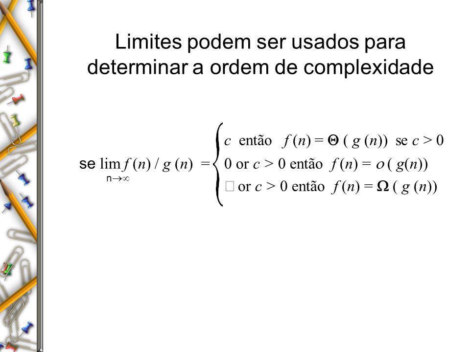 Limites podem ser usados para determinar a ordem de complexidade c então f (n) = ( g (n)) se c > 0 se lim f (n) / g (n) = 0 or c > 0 então f (n) = ( g