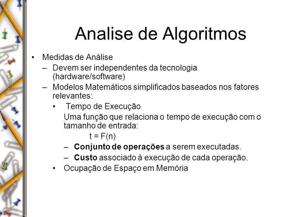 Medidas de Análise –Devem ser independentes da tecnologia (hardware/software) –Modelos Matemáticos simplificados baseados nos fatores relevantes: Temp