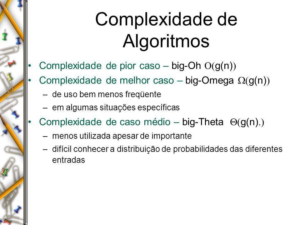 Complexidade de Algoritmos Complexidade de pior caso – big-Oh g(n) Complexidade de melhor caso – big-Omega g(n) –de uso bem menos freqüente –em alguma