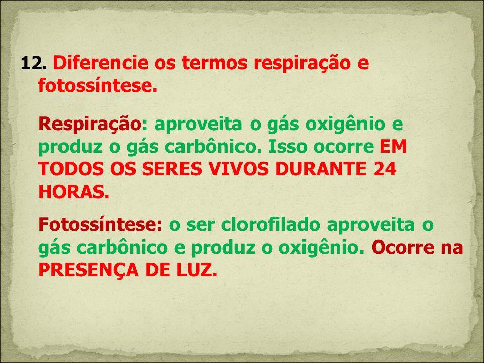 12. Diferencie os termos respiração e fotossíntese. Respiração: aproveita o gás oxigênio e produz o gás carbônico. Isso ocorre EM TODOS OS SERES VIVOS