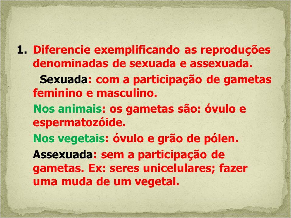 1.Diferencie exemplificando as reproduções denominadas de sexuada e assexuada. Sexuada: com a participação de gametas feminino e masculino. Nos animai