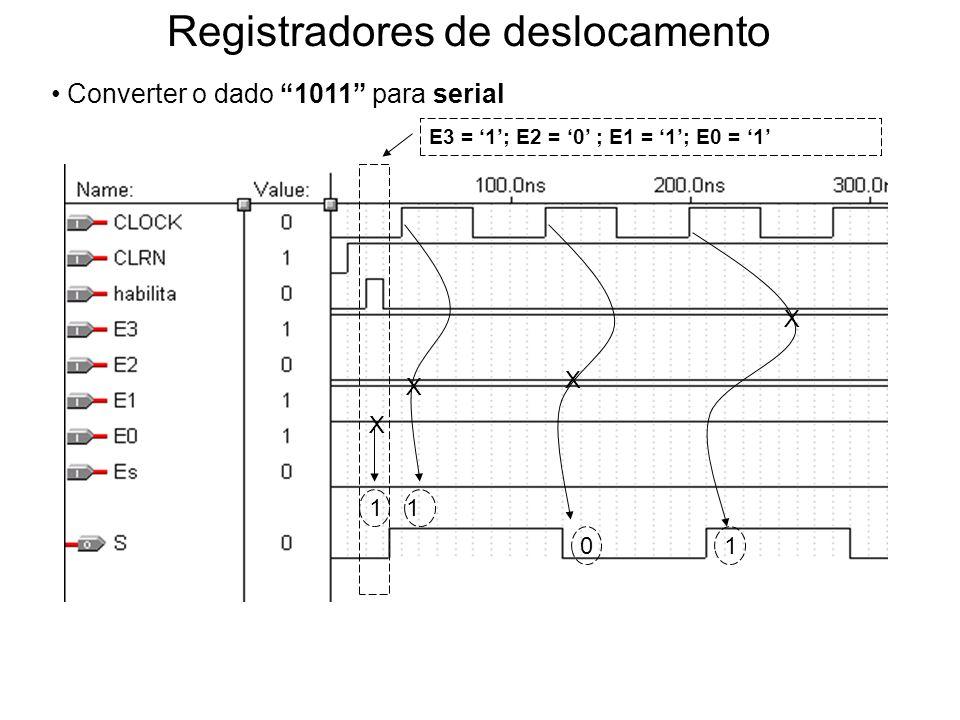 Registradores de deslocamento Converter o dado 1011 para serial E3 = 1; E2 = 0 ; E1 = 1; E0 = 1 1 X X 0 1 1 X X