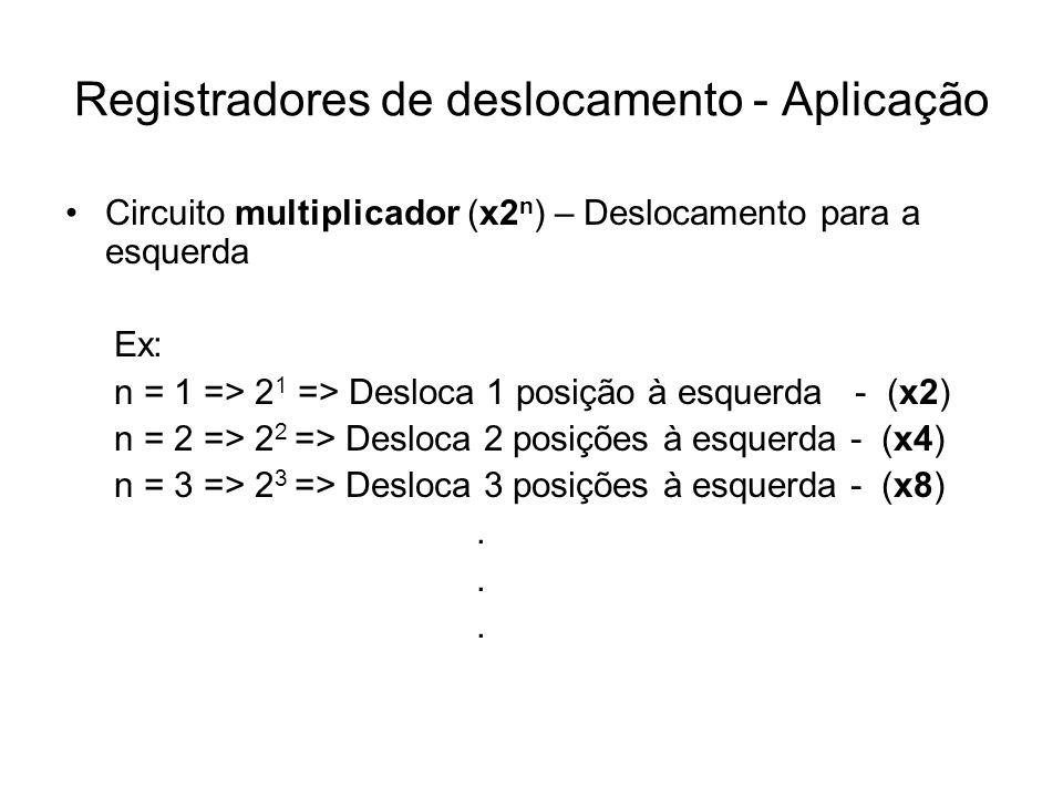 Registradores de deslocamento - Aplicação Circuito multiplicador (x2 n ) – Deslocamento para a esquerda Ex: n = 1 => 2 1 => Desloca 1 posição à esquer