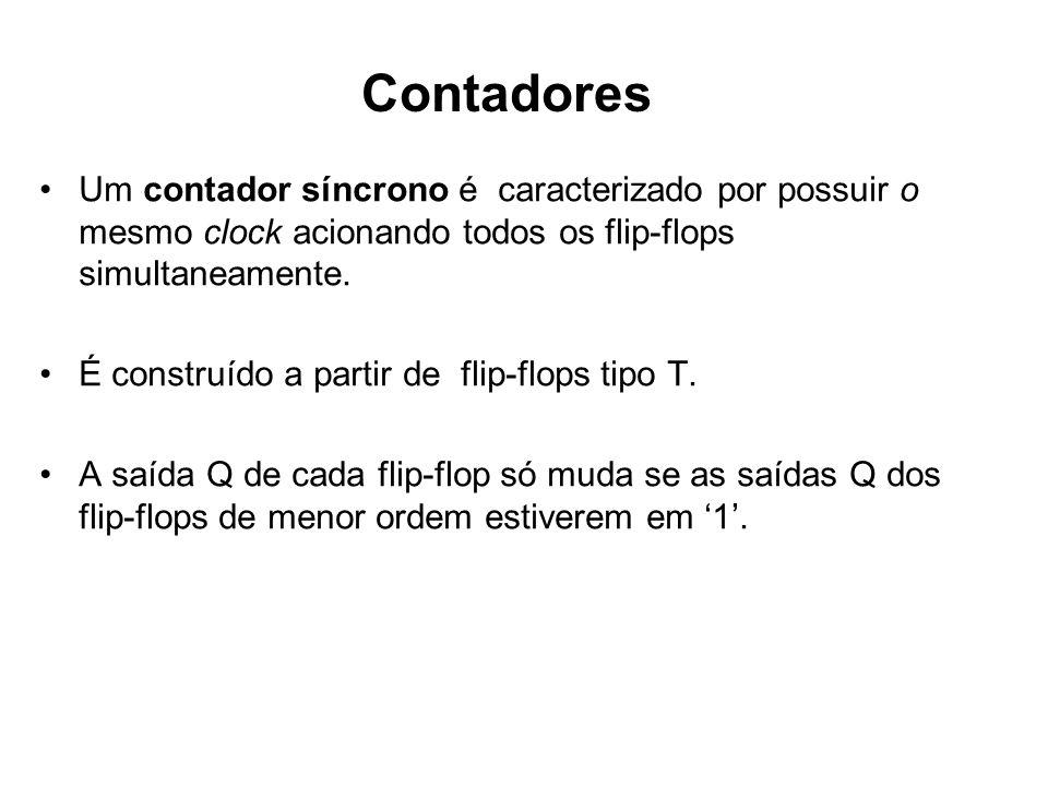 Um contador síncrono é caracterizado por possuir o mesmo clock acionando todos os flip-flops simultaneamente. É construído a partir de flip-flops tipo
