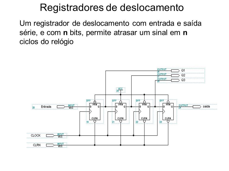 Registradores de deslocamento Um registrador de deslocamento com entrada e saída série, e com n bits, permite atrasar um sinal em n ciclos do relógio 1o.
