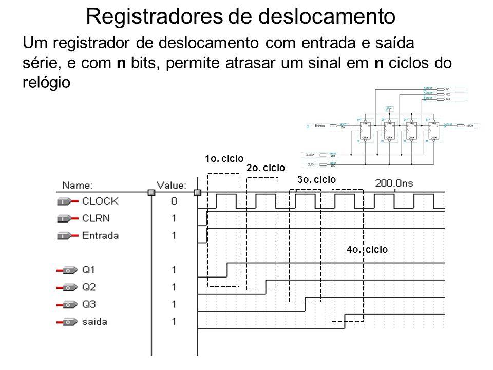 Registradores de deslocamento Um registrador de deslocamento com entrada série e saída paralela possui uma saída para cada bit armazenado, colocando-os disponíveis de Q1 até Qn.