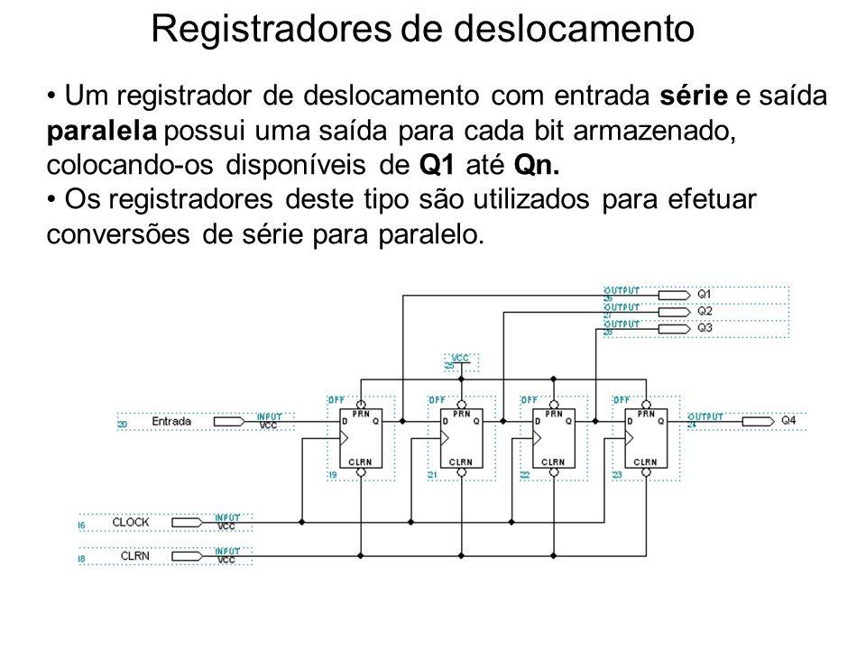 Registradores de deslocamento Um registrador de deslocamento com entrada série e saídas paralelas possui uma saída para cada bit armazenado, colocando-os disponíveis de Q1 até Qn.