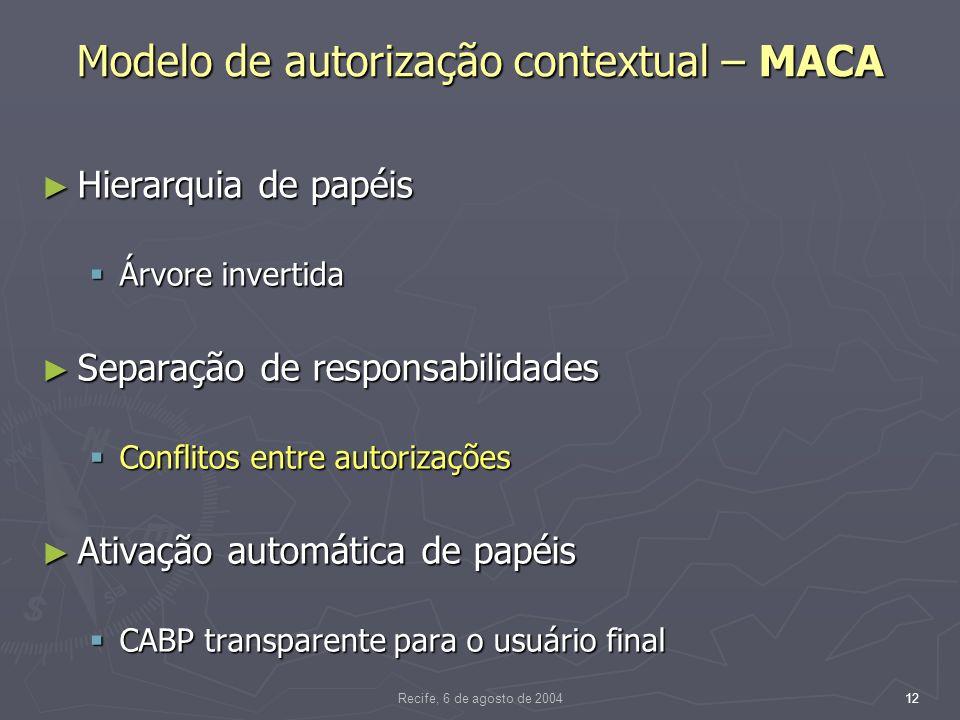 Recife, 6 de agosto de 200412 Modelo de autorização contextual – MACA Hierarquia de papéis Hierarquia de papéis Árvore invertida Árvore invertida Separação de responsabilidades Separação de responsabilidades Conflitos entre autorizações Conflitos entre autorizações Ativação automática de papéis Ativação automática de papéis CABP transparente para o usuário final CABP transparente para o usuário final