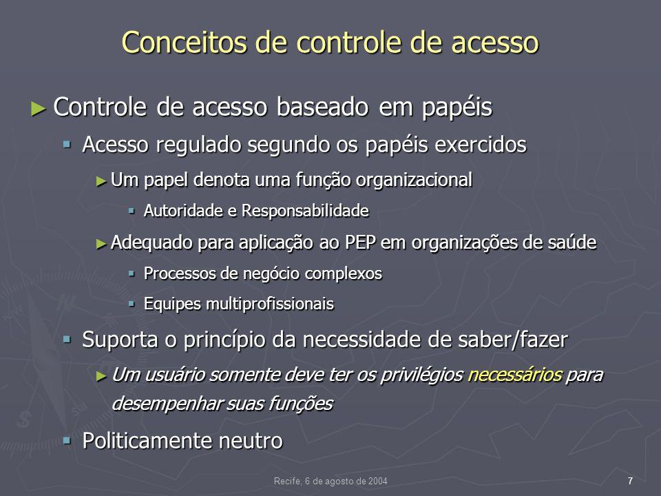 Recife, 6 de agosto de 200428 Arquitetura e implementação Decisão e Controle de Acesso com o Resource Access Decision (RAD) Facility