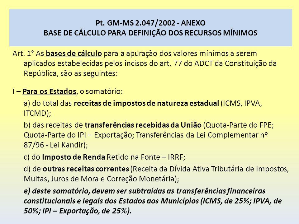 Pt. GM-MS 2.047/2002 - ANEXO BASE DE CÁLCULO PARA DEFINIÇÃO DOS RECURSOS MÍNIMOS Art. 1° As bases de cálculo para a apuração dos valores mínimos a ser